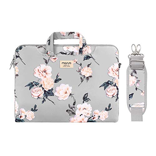 MOSISO Laptop Shoulder Bag Compatible with MacBook Pro 16 inch A2141/Pro Retina A1398 2012-2015, 15-15.6 inch Notebook Chromebook, Camellia Carrying Briefcase Sleeve with Trolley Belt, Grey