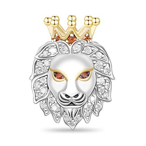 GNOCE Abalorio de plata de ley 925 con diseño de cabeza de animal, compatible con pulseras y collares, para mujeres, hombres y niños