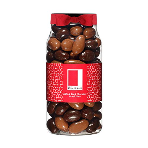 Photo of Rita Farhi Milk and Dark Chocolate Covered Brazil Nuts in a Gift Jar | Vegetarian and Chocolate Gift – Chocolate Coated Nuts – 740 g