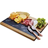 Refinery and Co. Solid Acacia Wood and Slate Meat and Cheese Board Set, Knives with Hammered Copper Finish Handles, Large Charcuterie Party Tray, Best Anniversary Housewarming for Entertaining