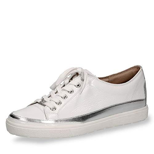 Caprice 23654-22 Damen sportiver Schnürschuh Lackleder onAir-Innensohle Weite G, Groesse 40, weiß