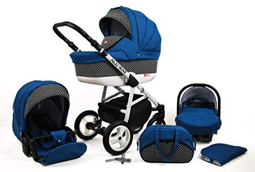 Kinderwagen Alu Way, 3 in 1 - Set Wanne Buggy Babyschale Autositz (Indygo)