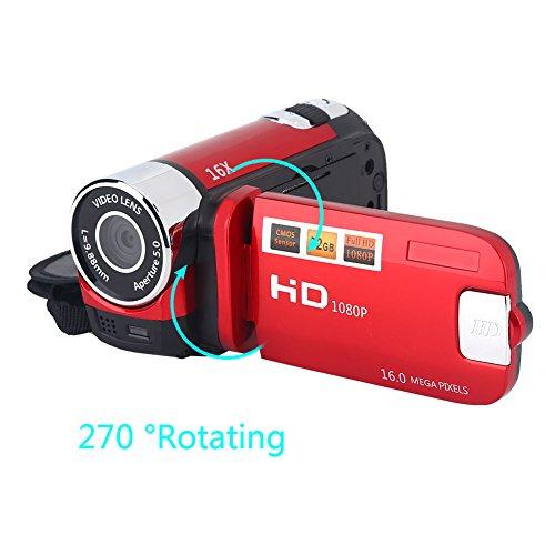 Digitale DV Kamera, 16MP 1080P FHD 16X Digitalzoom Videoaufzeichnungs Camcorder mit 270 Grad Drehung 2,7 Zoll Bildschirm für Fotoaufnahmen(rot)