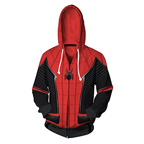Kdiaodeng Jersey Spiderman Juvenil Leaver De Home Cosplay Hoodie Superhéroe Casual Zip Up Sudadera Carnaval 3D Impresión Digital Suéter,Red-Adult/4XL
