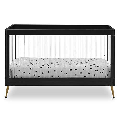Delta Children Sloane 4-in-1 Acrylic Convertible Crib - Includes Conversion Rails, Black w/Melted Bronze