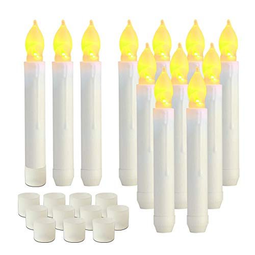 Flickering Flame Floating Candles, Battery Operated Tapered Candles