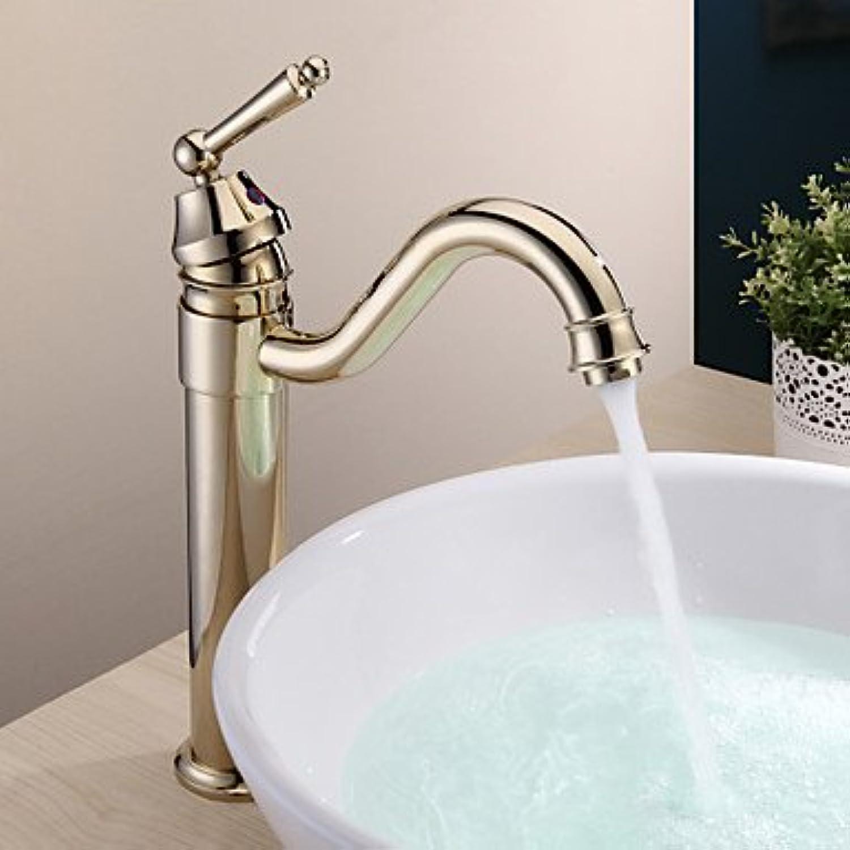 BiuTeFang Basin Tap Country Brass Single Handle Bathroom Sink Faucet Ti-PVD Finish Bathroom Faucet Basin Mixer Tap