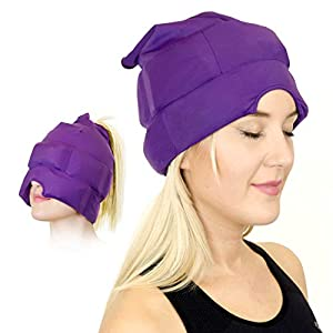 Headache and Migraine Relief Cap – A Headache Ice Mask or Hat Used for Migraines and Tension Headache Relief. Stretchy, Comfortable, Dark and Cool (by Magic Gel)