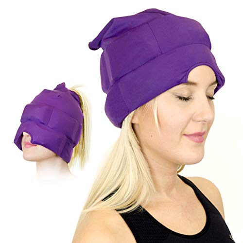 Headache and Migraine Relief Cap  A Headache Ice Mask or Hat Used for Migraines and Tension Headache Relief Stretchy Comfortable Dark and Cool by Magic Gel