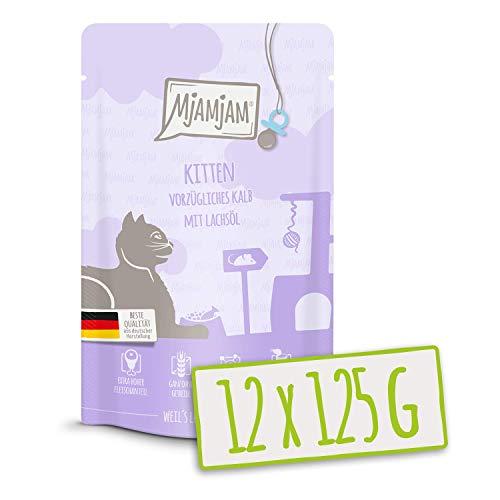 MjAMjAM Quetschie - Kitten vorzügliches Kalb mit Lachsöl 12x125 g, 1er Pack (1 x 1500 g)