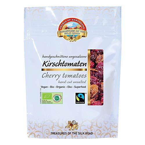 Tomates cherry orgánicos secos sin sal añadida 420kg BIO Fairtrade ecológico, sin azufre, secado al sol, calidad de los alimentos crudos, aromáticos, amarillentos/rojizos/pardos 7x60g