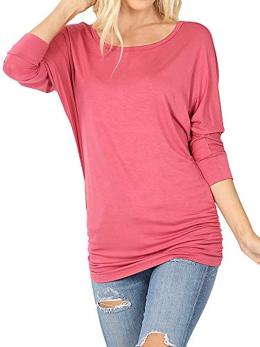 Women's Boat Neck Ruched Shirred Side 3/4 Dolman Sleeve Blouse Top (Rose, L)