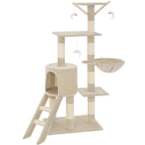 TecTake Kratzbaum für Katzen | Mittelhoch mit Sisalstangen | - Diverse Farben - (Beige | Nr. 401434)