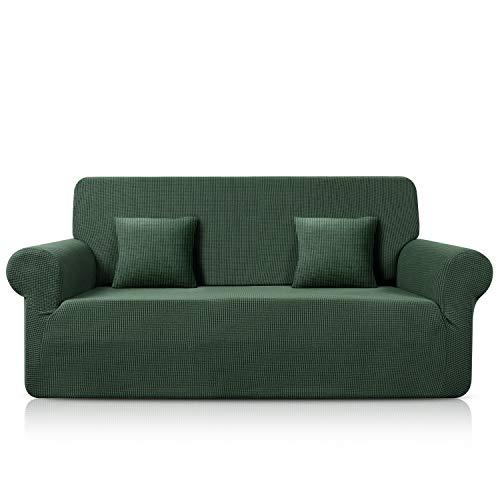 TAOCOCO Funda para sofá de jacquard, elástica, de spandex, disponible en varios tamaños y colores (verde oliva, 3 plazas, 180 – 230 cm)