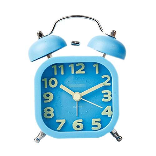 jinrun CLOCHO DE ALARMACION Creativa LUCHABLE Personas LEYS Alarma Silent Silent Light Children's Small Clock Diseño Elegante Simple, para Mesa/Escritorio/Dormitorio Reloj de Regalo (Color : Blue)