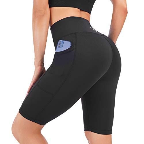 "Costdyne Women's 8"" /5"" High Waist Biker Shorts Yoga Workout Tights Running Jogger Compression Exercise Shorts Black"