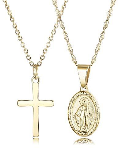 Finrezio 2 Piezas 14K Chapado en Oro Acero Inoxidable Joyería Católica Cristiana...