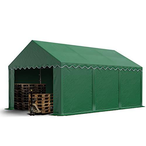 TOOLPORT Lagerzelt stabiles Industriezelt 4x6 m mit ca. 500 g/m² PVC Plane in dunkelgrün Weidezelt Unterstand mit Bodenrahmen und Dachverstärkung