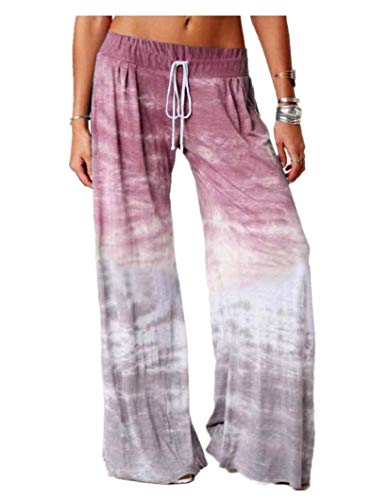 CuteRose Women Workout Gym Yoga Sports Elastic Waist Loose Ombre Pants Wine Red M