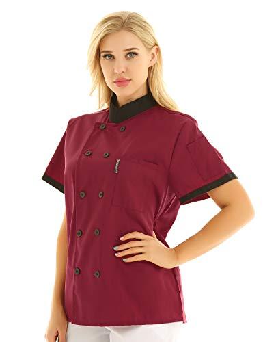 IEFIEL Camisa de Cocinero Camiseta Manga Corta Cuello Mandarín Unisexo para Hombre Mujer Chaqueta Chef con Botónes Uniforme de Cocina Hotel Restaurante Rojo Vino XX-Large