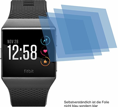4ProTec I 4X Crystal Clear klar Schutzfolie für Fitbit Ionic Displayschutzfolie Bildschirmschutzfolie Schutzhülle Displayschutz Displayfolie Folie