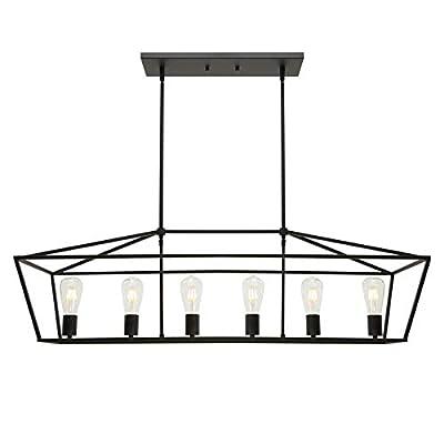 BONLICHT 6-Light Linear Farmhouse Chandelier in Matte Black Finish Industrial Kitchen Island Pendant Lighting Ceiling Hanging Lamp for Dining Room Stairway Living Room