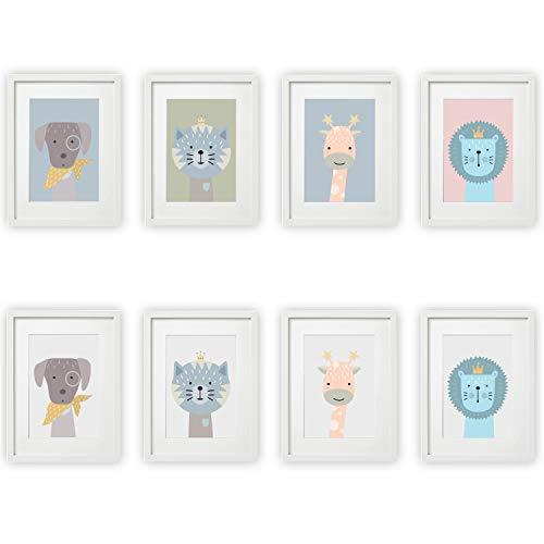 Kinderzimmer Bilder Set Babyzimmer Poster DIN A4 | für Mädchen & Jungen | Baby Tiere | farbig | Babyzimmer | Deko (#5 Hund Katze Giraffe Löwe)