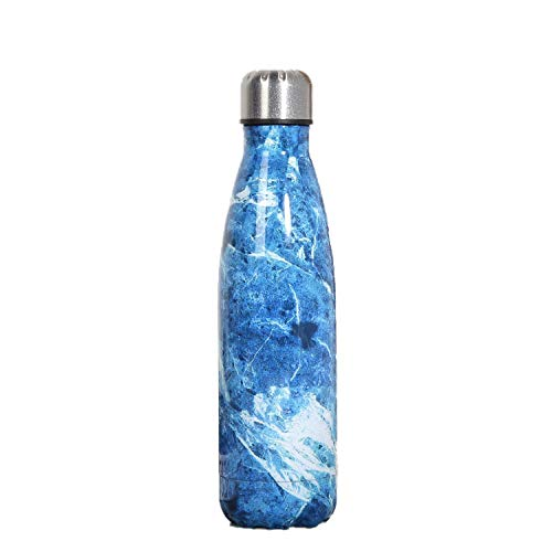 langchao Coke Bottle Thermos Stainless Steel Creative Plating Wood Grain Starry Sky Marble Water Cup Marble Light Blue 500ml