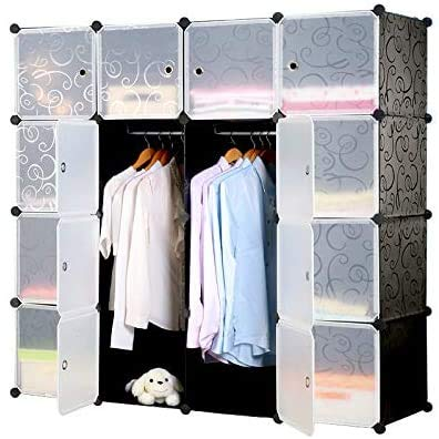 Kunyoxiu Space-saving Multifunction Sturdy Plastic Storage Organizer Shelves Bookshelf DIY Waterproof Home Use Interlocking Cube Clothes Wardrobe Cabinet black & transparent (16)