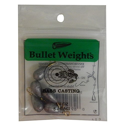 Bullet Weight SS14 1/4-Ounce Bass Casting Sinker, Nickel Finish