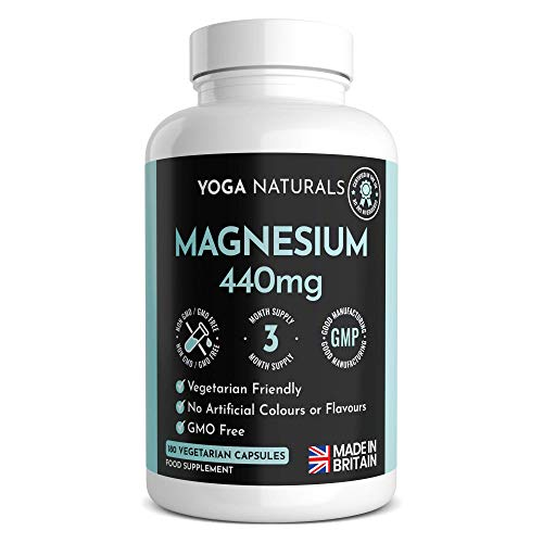 Magnesium Citrate 1480mg Providing 440mg Elemental Magnesium Per Serving - 180 Vegan-Friendly Capsules - High Dose of Elemental Magnesium - 90 Days Supply - Made in The UK
