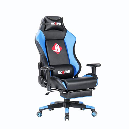 KCREAM Gaming Chairs High Back Computer Chair of Professional Racing Style Comfortable Gamer Chair with Footrest and Headrest and Lumbar Pillows (Blue) blue chair gaming