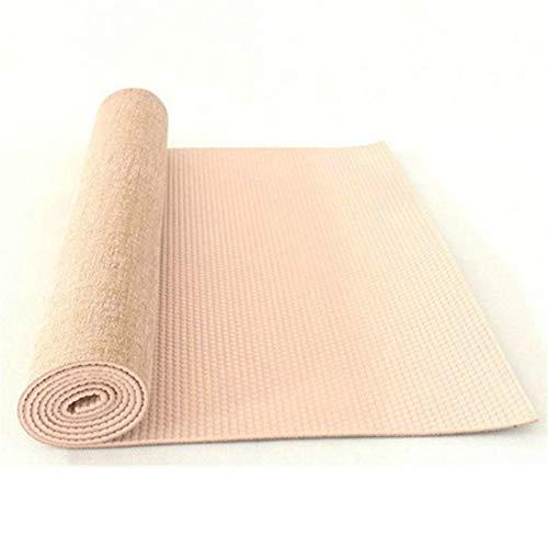 KSPIUTTRE rutschfeste Jute-PVC-Yogamatte Naturyogamatte Dicke 5 mm Leinenmaterial Yogamatte Übungsunterlage Premium-Yogamatte - Dicker Übungsschaum mit Rutschfester Oberfläche