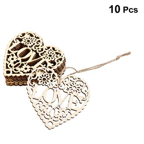 10pcs di Amore del Cuore di Legno Abbellimenti di Legno Ornamento D'attaccatura Cut Crafts Hanging Ornamenti Ciondolo di Nozze Decorazioni di Natale