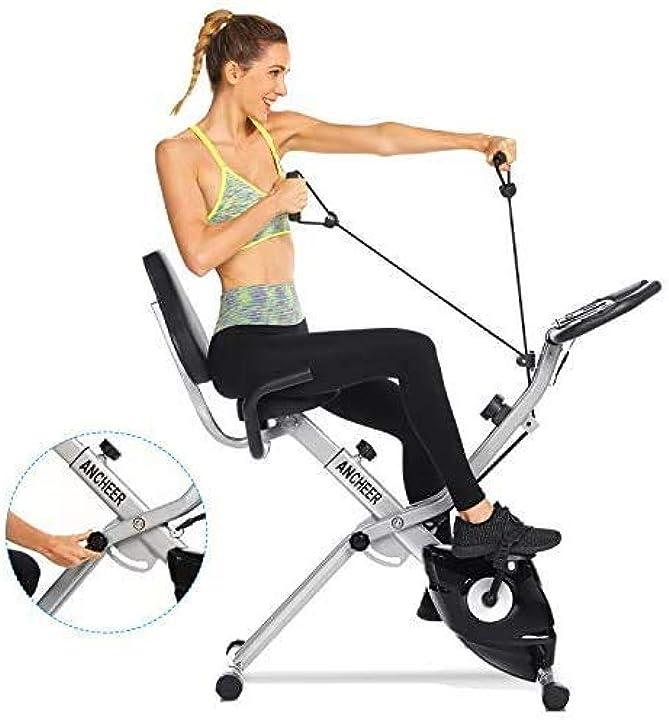 Bicicletta per esercizio 10 livelli di resistenza magnetica e sedile ampio e confortevole ancheer B08PFKZKR6