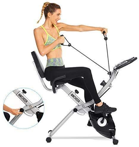 ANCHEER Bicicletta per Esercizio 10 Livelli di Resistenza Magnetica e Sedile Ampio e Confortevole, da Interni, Cyclette Pieghevole da Fitness Supporto per Tablet e Monitor Digitale (Grigio(Tipo 1))