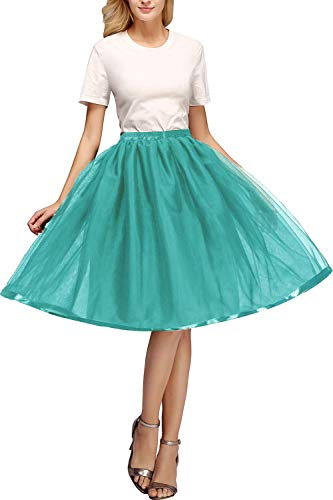 50s Retro Vintage Crinoline Petticoat for Women Tutu Tulle Pannier Dress Peacock Blue