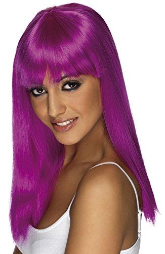 Smiffys, Glamour pruik met pony, één maat, neon lila, 42162