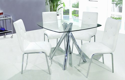 Best Master Furniture T244 Contemporary 5 Pcs Dinette Set w/Faux Leather Chairs