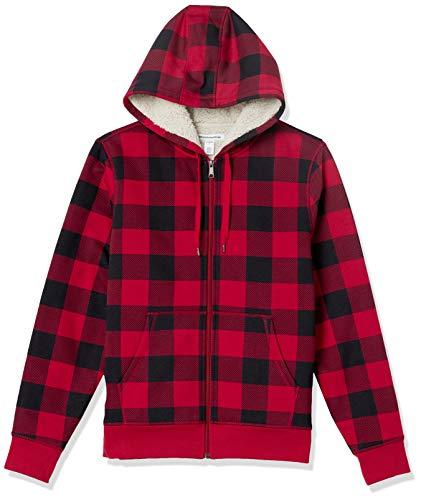 Amazon Essentials Sweat-Shirt Polaire à Capuche doublé Sherpa, Plaid Red Buffalo, XL