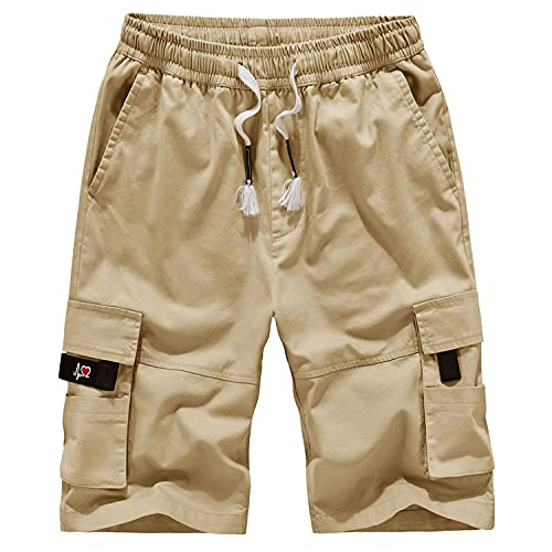 ELETOP Mens Cargo Shorts Elastic Waist Relaxed Fit Casual Shorts Outdoor Lightweight Multi Pocket Cotton Shorts A901 Khaki L