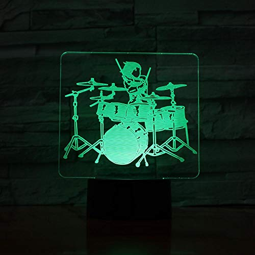 3D Night Lamp Musical instrument Guitar Drum Set Saxophone Music Notes 7 Colors Touch Kids Friends Gift Toys Decorations 953