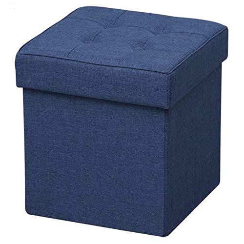 Iris Ohyama Folding Stool Puf Plegable con baúl de Almacenamiento, Textura, Azul, 33,5 L-34 x 34 x 29 cm