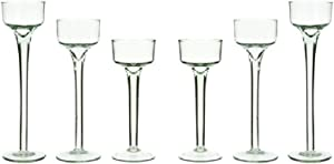 Long Stem Glass Tealight Candleholders Home Decor Special Events & Holidays Set of 6 by GB