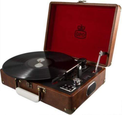 GPO Attache Plattenspieler im Aktenkoffer-Stil mit Vinyl Plattenspieler und eingebauten Lautsprechern, Vintage Braun