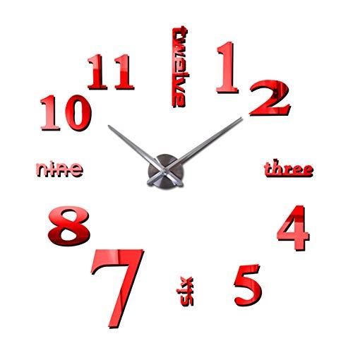 Cupcinu Reloj de Pared de Espejo 3D DIY Reloj de Pared Moderno de Salon Reloj Digital de Pared Grande Adhesivo de Pared Reloj de Pared Arte (Rojo)