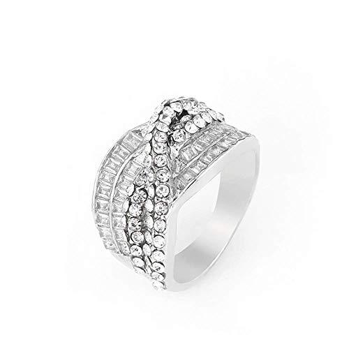 Anello da donna in cristallo per promessa infinito per ragazze con crociera di cristallo pavè festa eternità anello moda lusso gioielli per donne ragazza regalo e Lega, 19,5, cod. R053