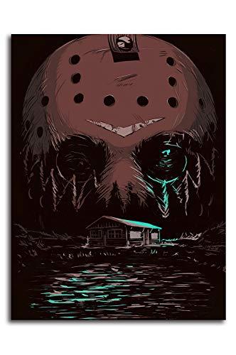 Stampa su tela di Ariago del Venerdì il 13° film horror, 45,7 x 61 cm, motivo: film horror, Crystal Lake the Jason, arte del soggiorno camera da letto, senza cornice/incorniciabile