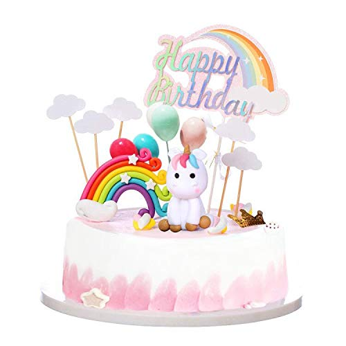 Unicorn Rainbow Cake Topper Birthday Wedding Cake Flags With Cloud Balloon Cake Flag For Birthday Wedding & Baby Shower Birthday Party Decoration Supplies
