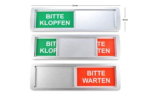 SynMe 1 Letrero Deslizante Grande Bitte KLOPFEN/Bitte WARTEN - 17,5 x 5 cm - Letrero con función Deslizante para indicar el Estado de una habitación - Adhesivo Trasero d de la reconocida Marca 3M